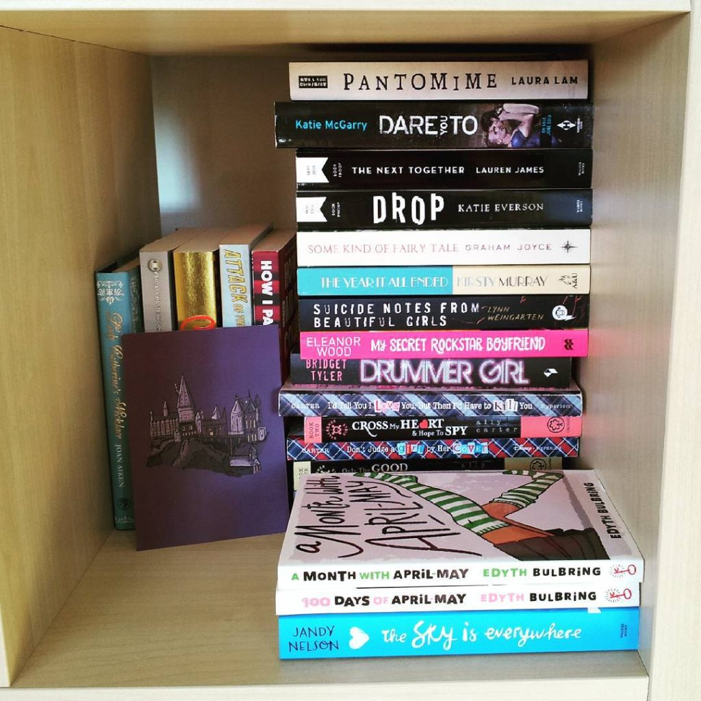 books, bookshelf, YA, young adult, pile of books