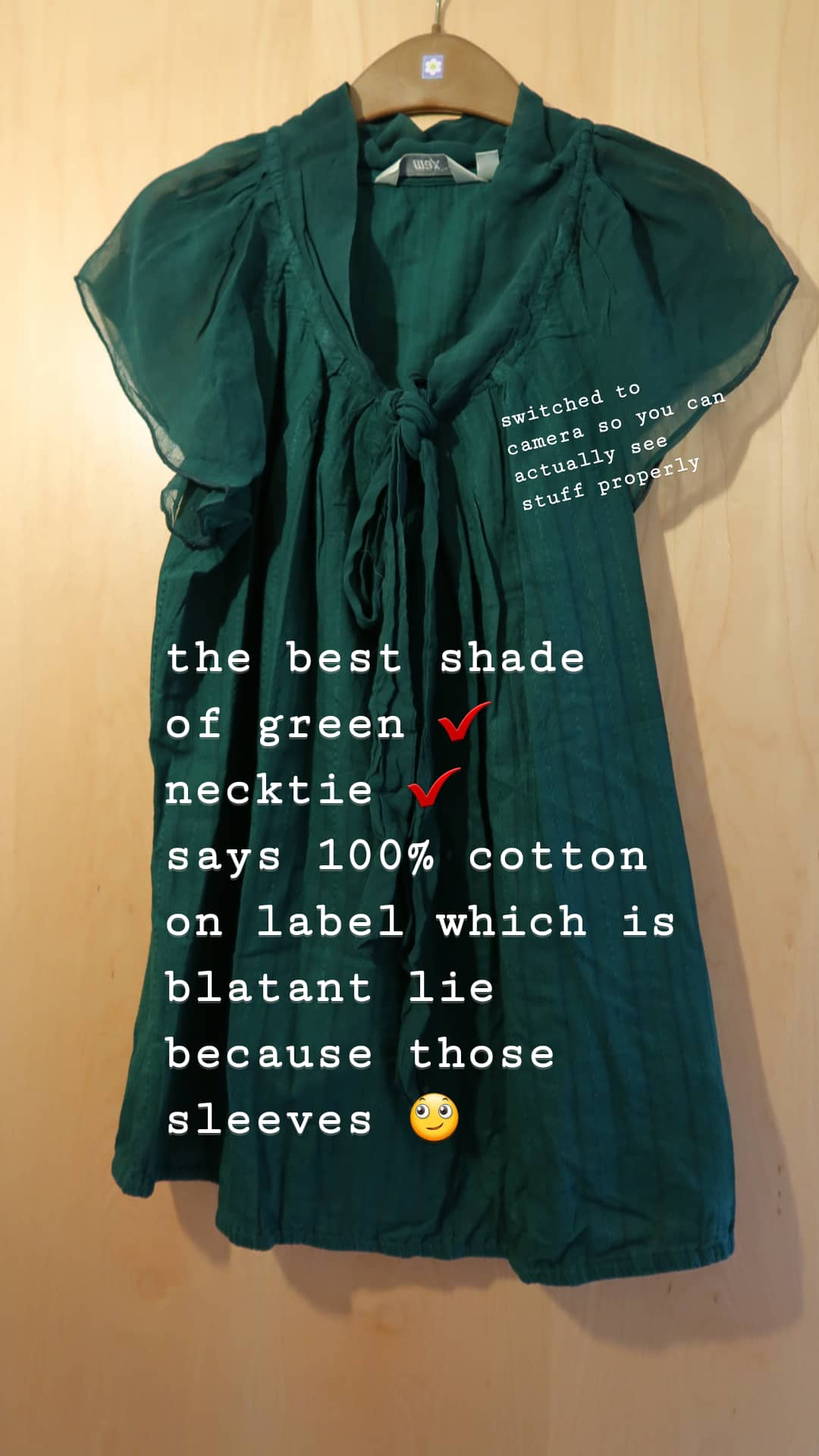 forest green blouse with pussy bow